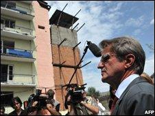 Bernard Kouchner in Gori, Georgia