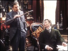 Terence Rigby and Tom Baker in The Hound of The Baskervilles