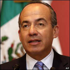 President Felipe Calderon in a photo from 6 August 2008