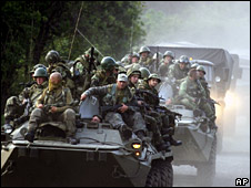 Russian troops near the village of Khurcha in Georgia's breakaway province of Abkhazia