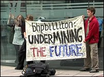 protesters at BHP Billiton headquarters
