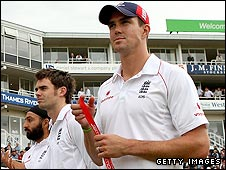 Monty Panesar, James Anderson and Kevin Pietersen