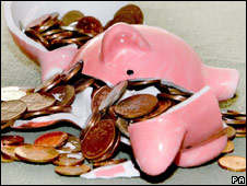 Piggy bank smashed