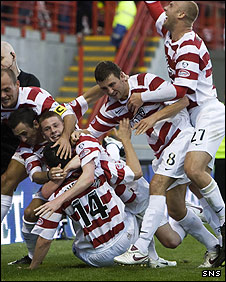 Hamilton celebrate their first goal in the SPL