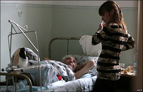 A young woman visited an injured South Ossetian man in hospital in Vladikavkaz