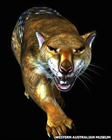 Computer-generated image of the marsupial 'lion' Thylacoleo carnifex 