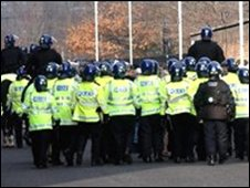 Police outside a football ground