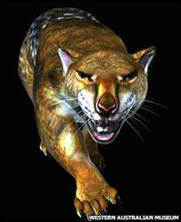 "Imagen computarizada de ""león"" marsupial, thylacoleo carnifex"