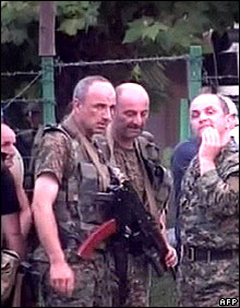 Abkhaz separatist fighters in Sukhumi, 11 August (image from Russian channel NTV)