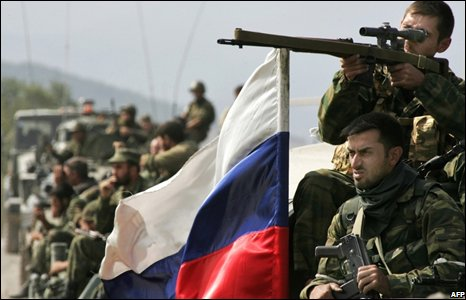 Russian troops in the village of Zemo Nikozi, Georgia (11/08/2008)