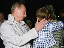 Russian PM Vladimir Putin speaks to South Ossetian refugees in North Ossetia (09/08/2008)