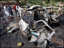 The air force vehicle was hit by a bomb in Peshawar on 12 August 2008