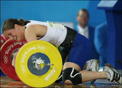 Welsh weightlifter Michaela Breeze grimaces