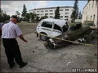 Следы бомбардировок в городе Поти
