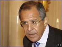 Ministro ruso durante conferencia de prensa.