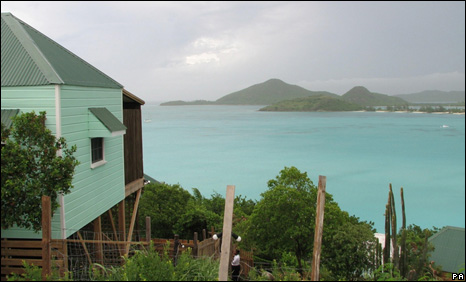 A view from the hotel cottage in Antigua where Ben and Catherine Mullany were shot