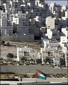Har Homa settlement, and a Palestinian flag flown in nearby Bethlehem