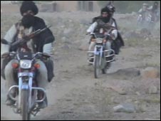 Taleban militants on bikes near Wardak