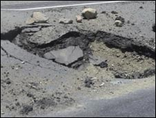 A crater on the Kabul-Kandahar road in Wardak