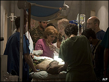 Wounded Ossetian soldier being treated in Tskhinvali, 11 Aug 08