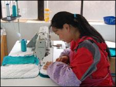 A seamstress at 'Hearts and Hands'