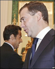 Russian President Dmitry Medvedev (R) and French President Nicholas Sarkozy meet in the Kremlin, Moscow, 12 August 2008