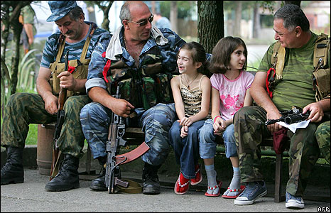 Abkhaz fighters chat to children near Gali, Abkhazia, on 12 August