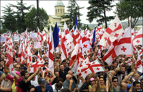 Georgian rally for a speech by President Mikhail Saakashvili in Tbilisi on 12 August