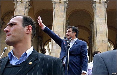 Georgian President Mikhail Saakashvili addresses a rally in Tbilisi on 12 August
