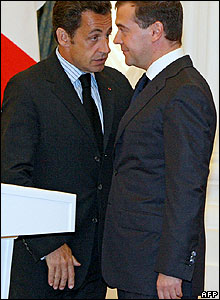 Nicolas Sarkozy (left) meets Sergei Medvedev in Moscow on 12 August