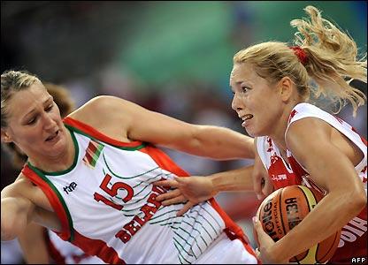Russia's Ilona Korstin heads for the hoop