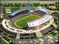 An artist's impression of the new Benguela stadium in Angola