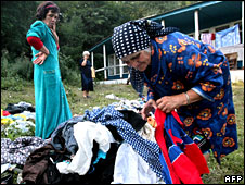 A woman from South Ossetia in a refugee camp near a Alagir near the Georgian border