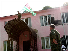 Abkhaz separatist soldiers drove Georgian forces out of Chkhalta and took control of the town. 12/08/08