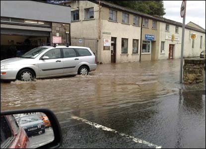 Flooded streets in Cupar