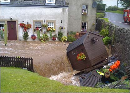 Major flooding in a garden