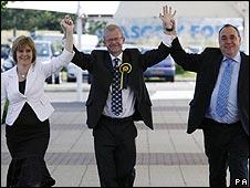 Nicola Sturgeon, John Mason and Alex Salmond in Glasgow East
