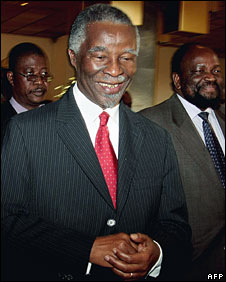 Thabo Mbeki leaves power-sharing talks in Harare, 13 August 2008