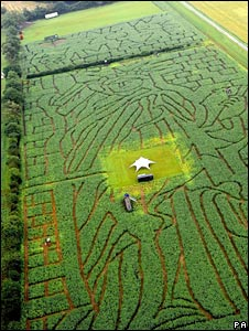 "Aerial view of a ""maize maze"""