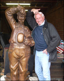 Stan Laurel and artist Bob Olley