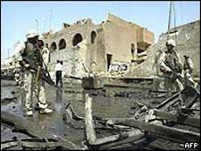 Wreckage left in the wake of the Jordan embassy bombing