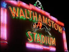 Walthamstow dog track sign. Photo Clark Ainsworth