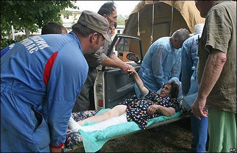 Injured woman taken to field hospital