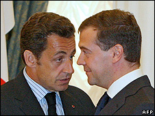 Russian President Dmitry Medvedev (right) with his French counterpart Nicolas Sarkozy at news conference in Moscow, 12 Aug 08