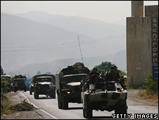 Russian armoured vehicles on the Gori-Tbilisi road, 13 Aug