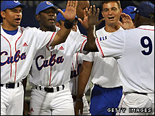 Cuban players celebrate