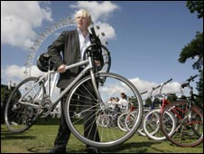Boris Johnson bikes