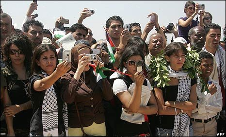 Mourners at Darwish's funeral