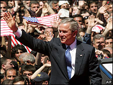 US President George W Bush visits Tbilisi on 10 May 2005