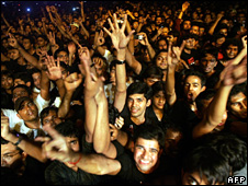 Young Indians at a rock concert